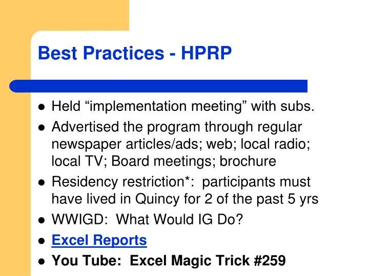Best Practices - HPRP
