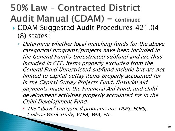 50% Law – Contracted District Audit Manual (CDAM) -