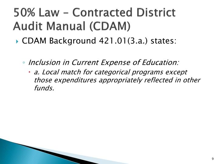 50% Law – Contracted District Audit Manual (CDAM)