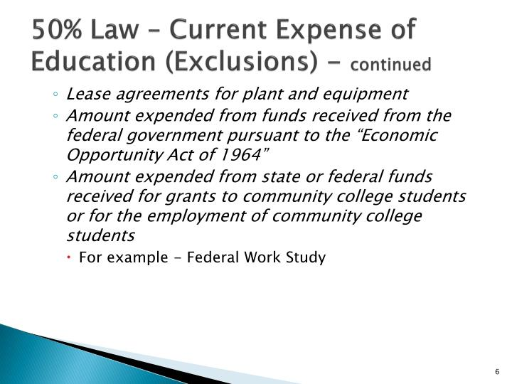 50% Law – Current Expense of Education (Exclusions