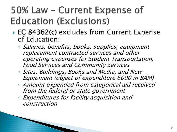 50% Law – Current Expense of Education