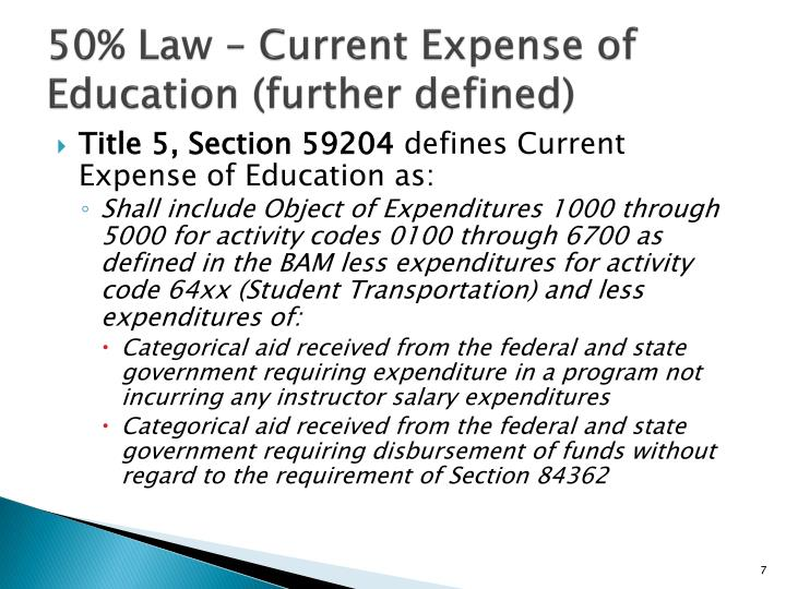 50% Law – Current Expense of Education (further defined)