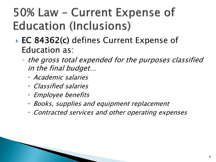 50% Law – Current Expense of Education (Inclusions)