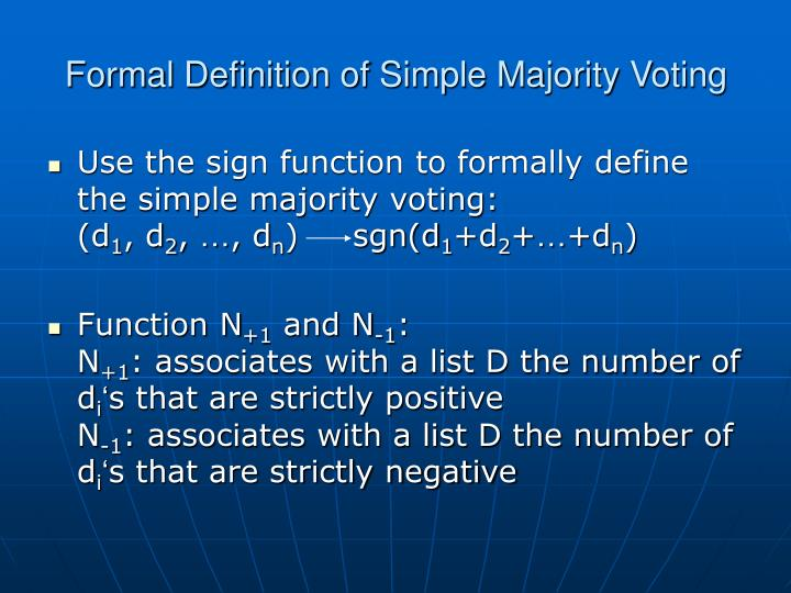 Formal Definition of Simple Majority Voting