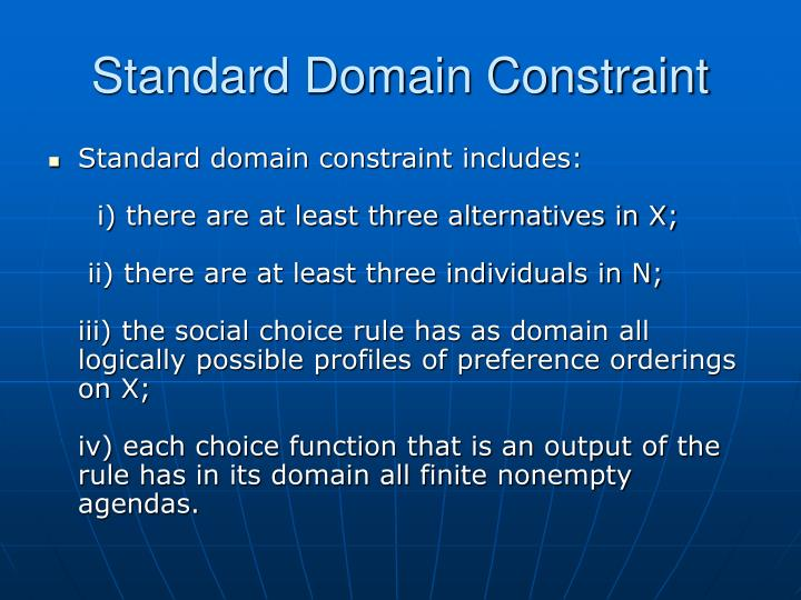 Standard Domain Constraint