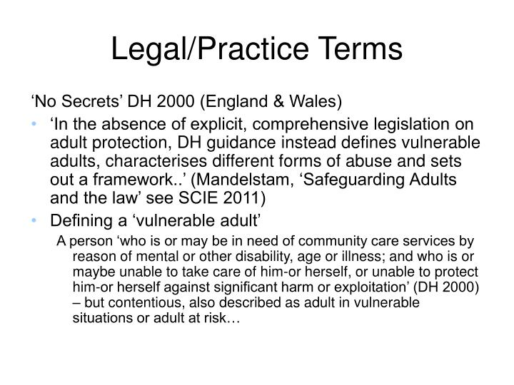 Legal/Practice Terms