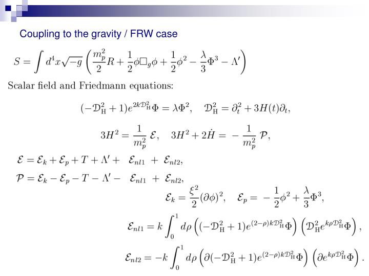 Coupling to the gravity / FRW case