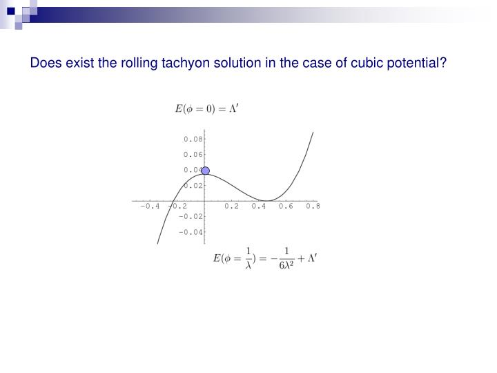 Does exist the rolling tachyon solution in the case of cubic potential?