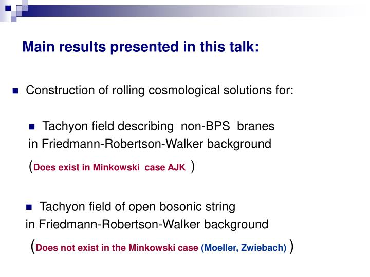 Main results presented in this talk: