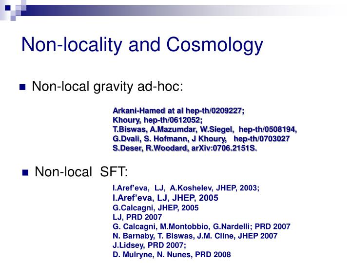 Non-locality and Cosmology