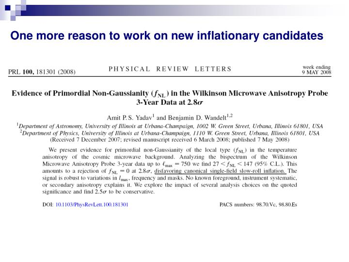 One more reason to work on new inflationary candidates