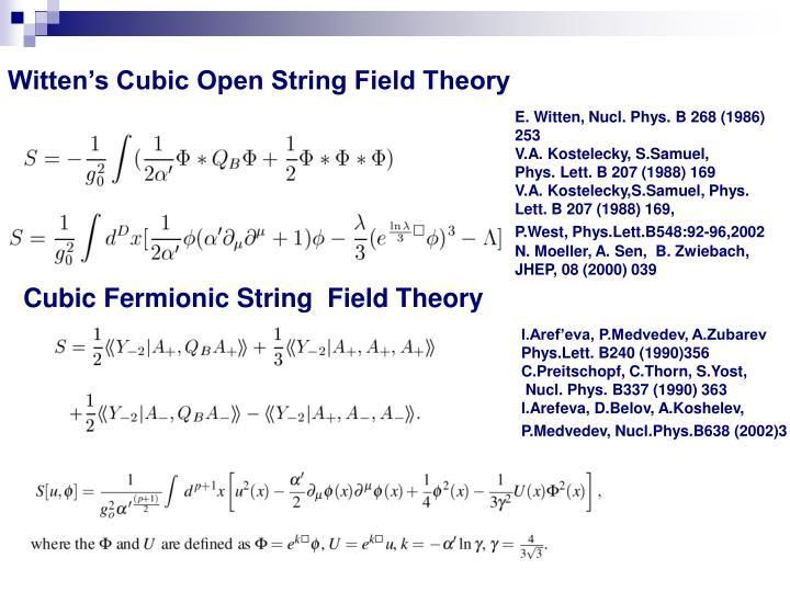 Witten's Cubic Open String Field Theory
