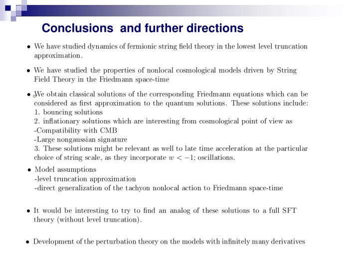 Conclusions  and further directions