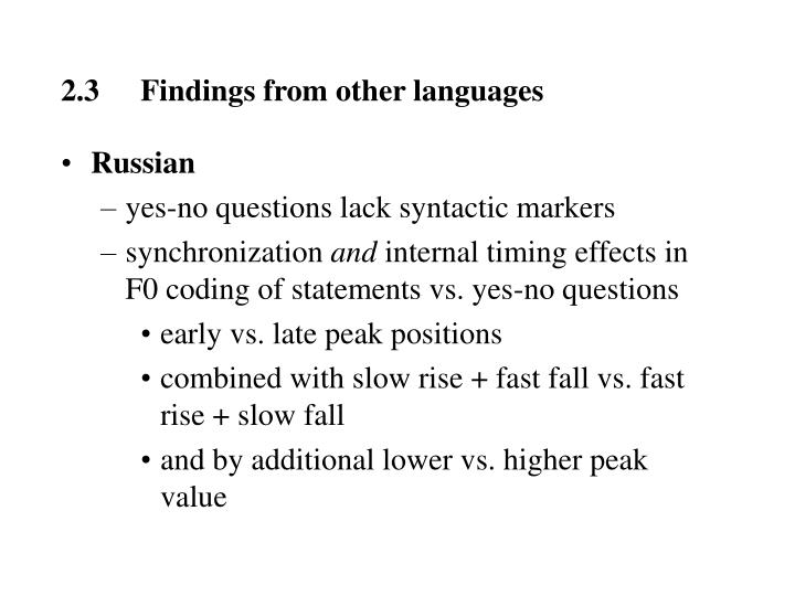 2.3Findings from other languages