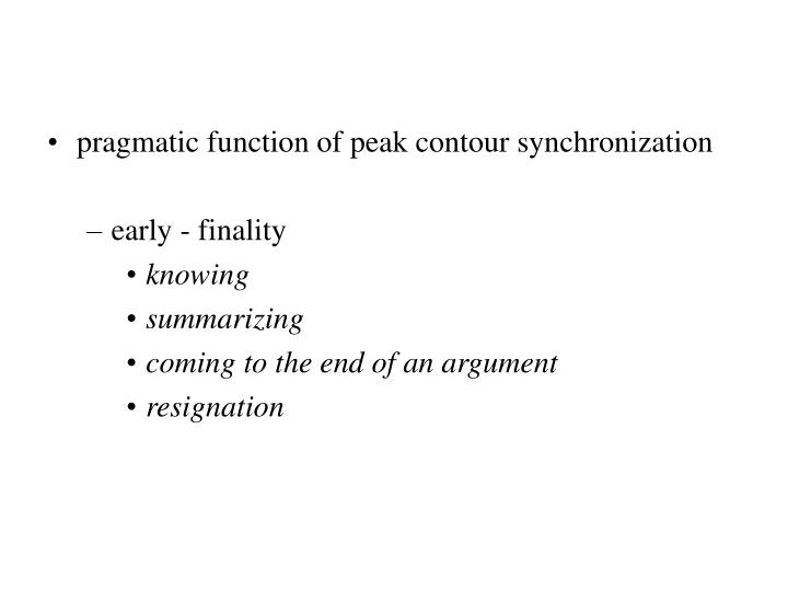 pragmatic function of peak contour synchronization