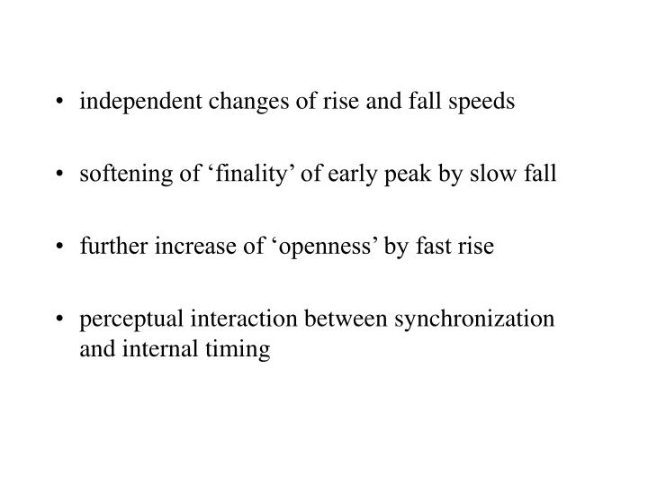 independent changes of rise and fall speeds
