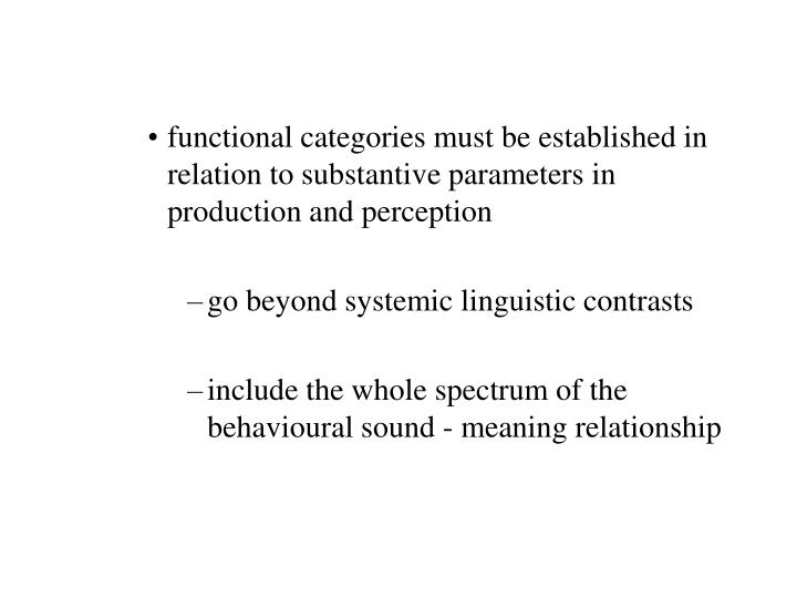 functional categories must be established in relation to substantive parameters in production and perception