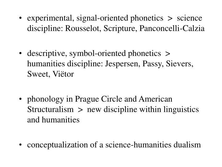 experimental, signal-oriented phonetics  >  science discipline: Rousselot, Scripture, Panconcelli-Calzia