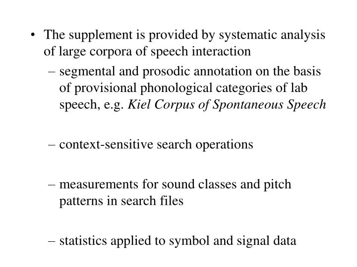 The supplement is provided by systematic analysis of large corpora of speech interaction