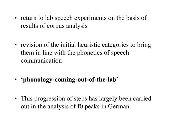 return to lab speech experiments on the basis of results of corpus analysis