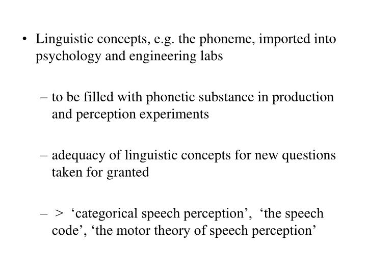Linguistic concepts, e.g. the phoneme, imported into psychology and engineering labs