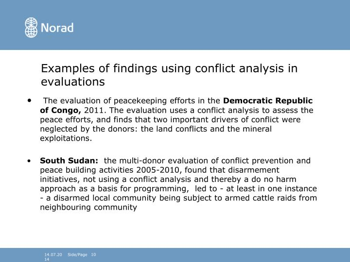 Examples of findings using conflict analysis in evaluations