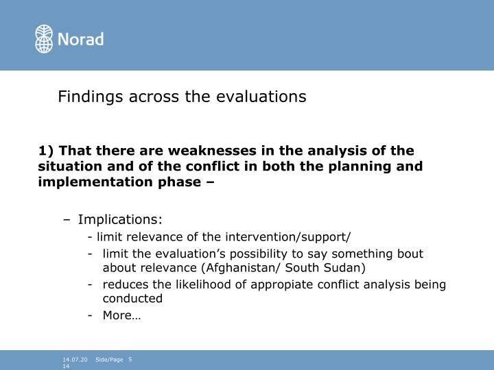 Findings across the evaluations