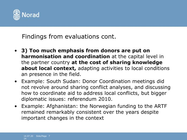 Findings from evaluations cont.