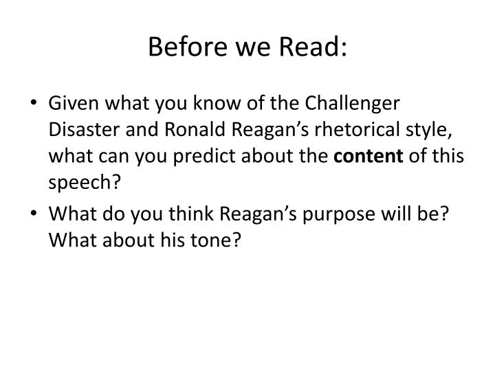 Before we Read: