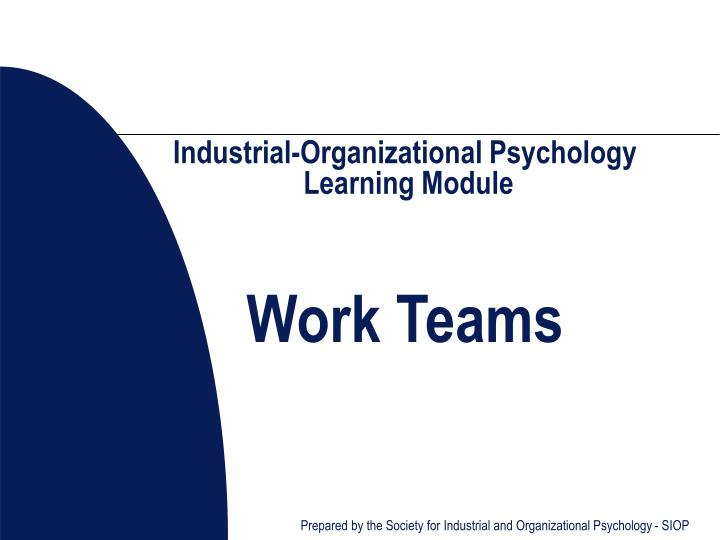 Industrial organizational psychology learning module work teams