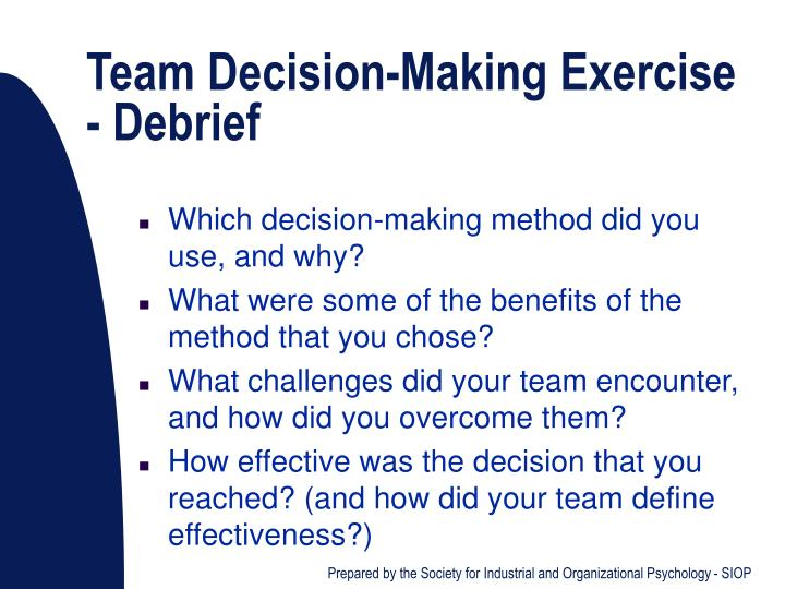 Team Decision-Making Exercise - Debrief