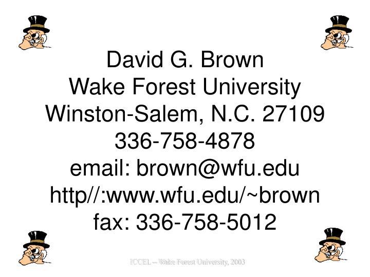 David G. Brown
