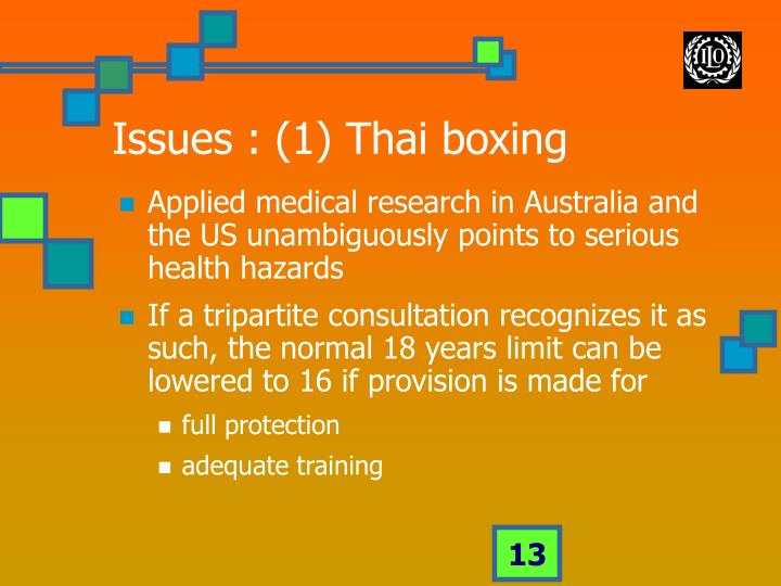 Issues : (1) Thai boxing