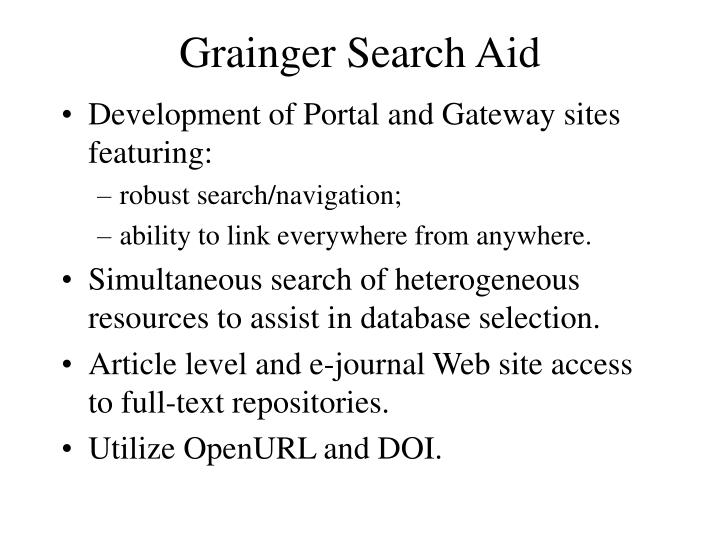 Grainger Search Aid