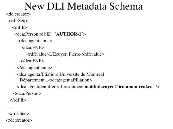 New DLI Metadata Schema