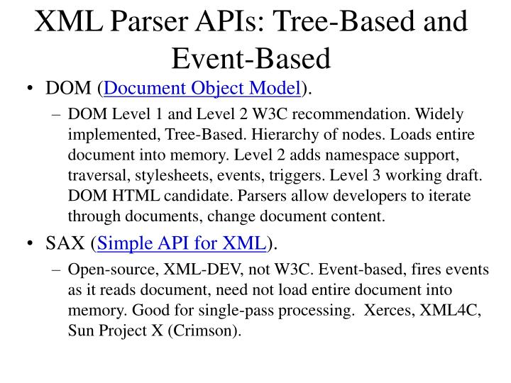 XML Parser APIs: Tree-Based and Event-Based