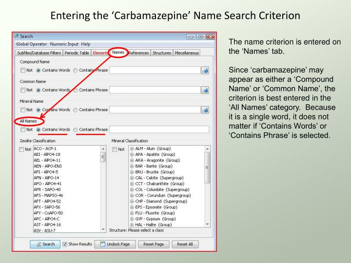 Entering the 'Carbamazepine' Name Search Criterion