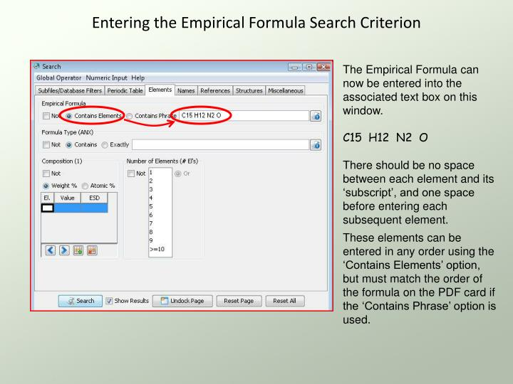 Entering the Empirical Formula Search Criterion