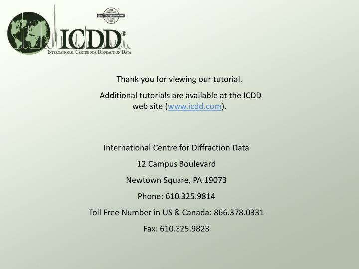 International Centre for Diffraction Data