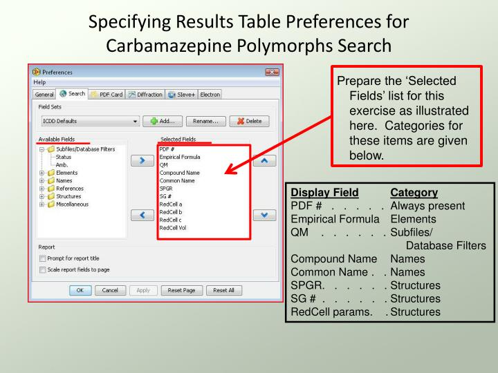 Specifying Results Table Preferences for