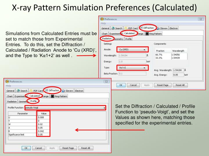 X-ray Pattern Simulation Preferences (Calculated)