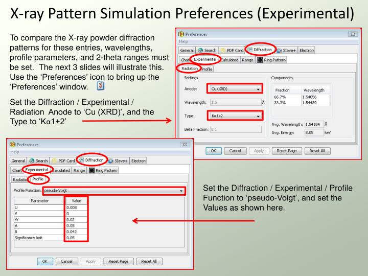 X-ray Pattern Simulation Preferences (Experimental)