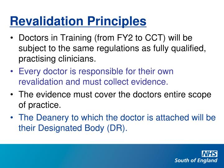 Revalidation Principles