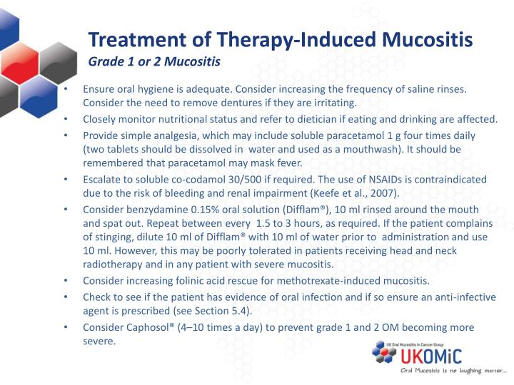 Treatment of Therapy-Induced Mucositis