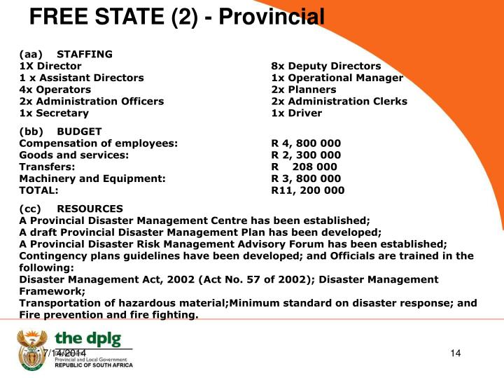 FREE STATE (2) - Provincial
