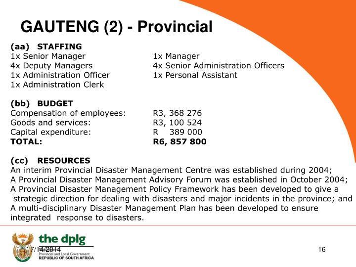 GAUTENG (2) - Provincial