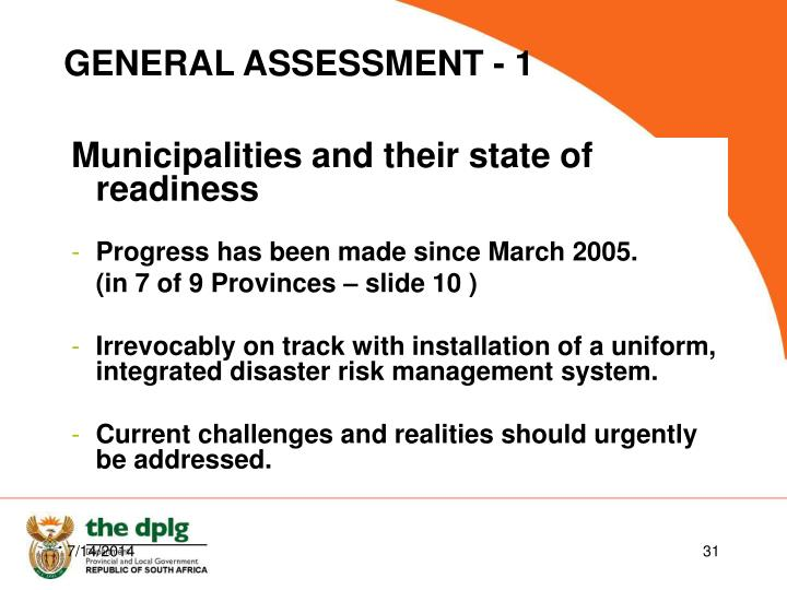 Municipalities and their state of readiness