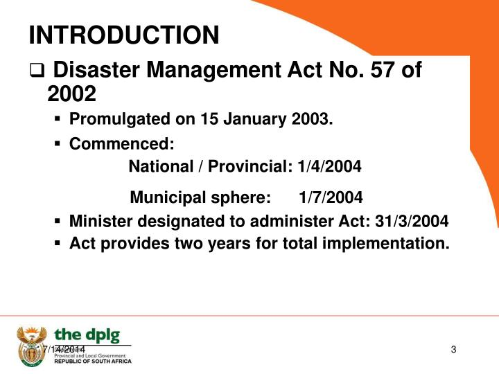 Disaster Management Act No. 57 of 2002