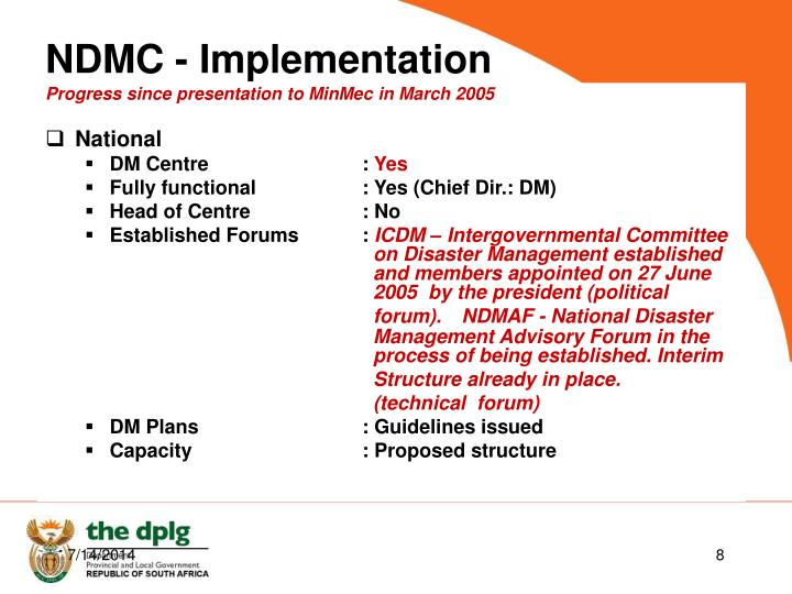 Progress since presentation to MinMec in March 2005