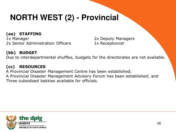 NORTH WEST (2) - Provincial